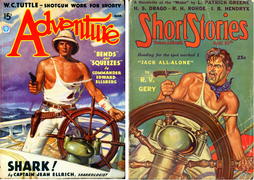 Adventure March 1936 cover by Hubert Rogers vs Short Stories April 10 1938 cover by A. R. Tilburne